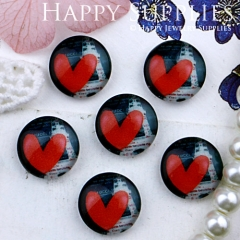 10pcs 12mm Heart Handmade Photo Glass Cabochon GC12-329