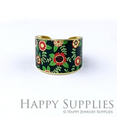 1pcs Flower Handmade Photo Brass Ring PR136