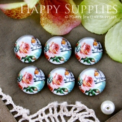10pcs 12mm Bird Flower Handmade Photo Glass Cabochon GC12-566