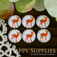10pcs 12mm Deer Handmade Photo Glass Cabochon GC12-024