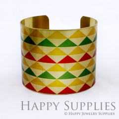 1pcs Triangle Colorful Handmade Photo Brass Cuff Bracelet PBC023