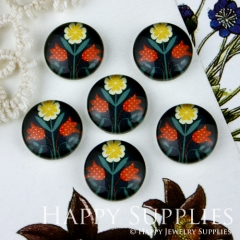 10pcs 12mm Flower Handmade Photo Glass Cabochon GC12-005