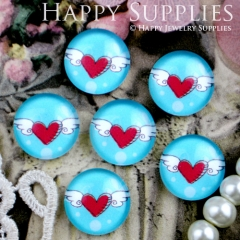 10pcs 12mm Heart Wings Handmade Photo Glass Cabochon GC12-307