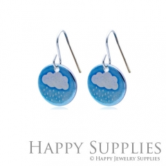 6pcs Cloud and Rain 925 Silver Plated Brass Charm Earring Necklace SY107