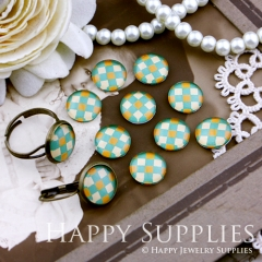 10pcs 12mm Geometric Colorful Diamond Handmade Photo Glass Cabochon GC12-145