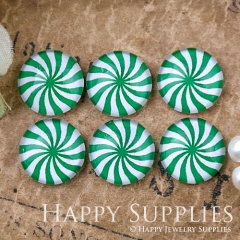 10pcs 12mm Green White Flower Geometric Handmade Photo Glass Cabochon GC12-1101