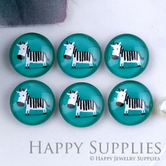 10pcs 12mm Blue Zebra Handmade Photo Glass Cabochon GC12-1206