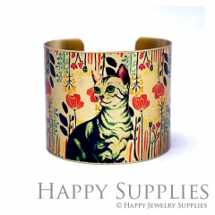 1pcs Cat Handmade Photo Brass Cuff Bracelet PBC096