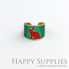1pcs Rabbit Handmade Photo Brass Ring PR073