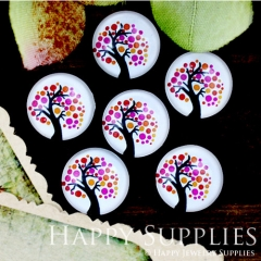 10pcs 12mm Tree Red Handmade Photo Glass Cabochon GC12-703