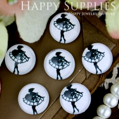 10pcs 12mm Girl Dance Black White Handmade Photo Glass Cabochon GC12-267