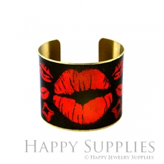 1pcs Lips Handmade Photo Brass Cuff Bracelet PBC086