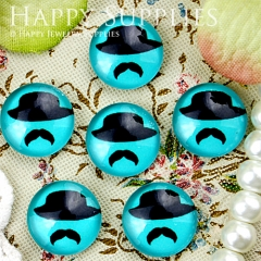 10pcs 12mm Hat beard Handmade Photo Glass Cabochon GC12-336