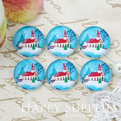 10pcs 12mm Snow Christmas House Handmade Photo Glass Cabochon GC12-1002