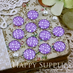 10pcs 12mm Purple Heart Handmade Photo Glass Cabochon GC12-130