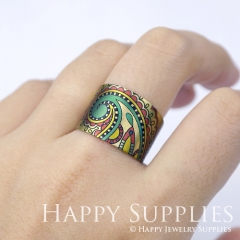 1pcs Pattern Handmade Photo Brass Ring PR061