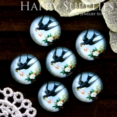 10pcs 12mm Swallow Handmade Photo Glass Cabochon GC12-552