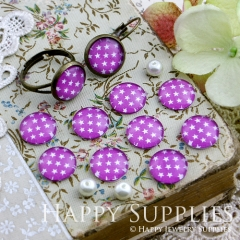 10pcs 12mm Hot Pink Star Handmade Photo Glass Cabochon GC12-161