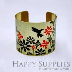 1pcs Bird Flower Handmade Photo Brass Cuff Bracelet PBC013