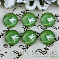 10pcs 12mm Bird Green Handmade Photo Glass Cabochon GC12-057