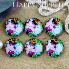 10pcs 12mm Flower Handmade Photo Glass Cabochon GC12-822