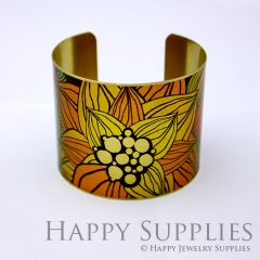 1pcs Flower Handmade Photo Brass Cuff Bracelet PBC010