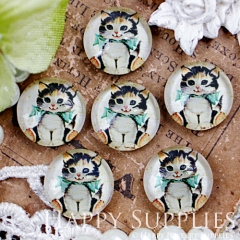 10pcs 12mm Cat Handmade Photo Glass Cabochon GC12-409