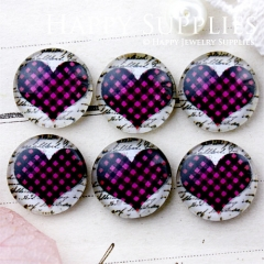 10pcs 12mm Heart Handmade Photo Glass Cabochon GC12-655