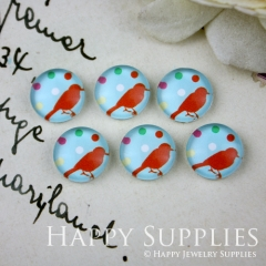 10pcs 12mm Red Bird Handmade Photo Glass Cabochon GC12-023