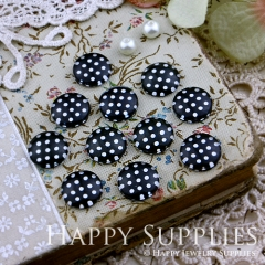 10pcs 12mm Dot Black White Handmade Photo Glass Cabochon GC12-173