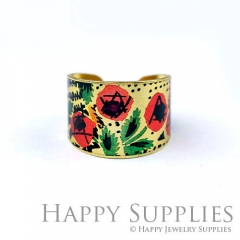 1pcs Flower Handmade Photo Brass Ring PR128
