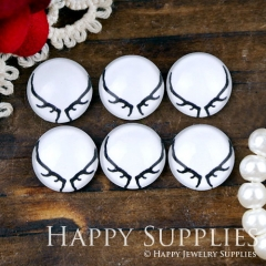 10pcs 12mm Antlers Handmade Photo Glass Cabochon GC12-1077