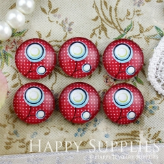 10pcs 12mm Flower Red Handmade Photo Glass Cabochon GC12-810