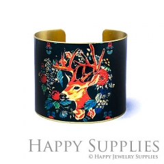 1pcs Deer Handmade Photo Brass Cuff Bracelet PBC100