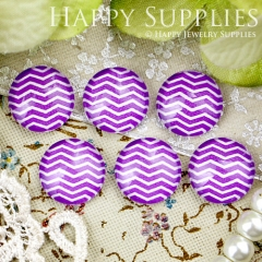 10pcs 12mm Purple Curve Stripe Handmade Photo Glass Cabochon GC12-340