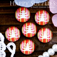 10pcs 12mm Christmas tree Handmade Photo Glass Cabochon GC12-316