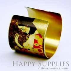 1pcs Woman Flower Handmade Photo Brass Cuff Bracelet PBC056