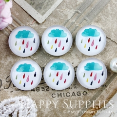10pcs 12mm Rain Cloud Handmade Photo Glass Cabochon GC12-884