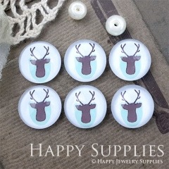 10pcs 12mm Deer Handmade Photo Glass Cabochon GC12-1036
