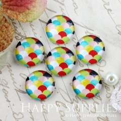 10pcs 12mm Geometric Colorful Handmade Photo Glass Cabochon GC12-895