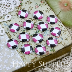 10pcs 12mm Color plaid Handmade Photo Glass Cabochon GC12-119
