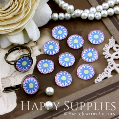10pcs 12mm Flower Handmade Photo Glass Cabochon GC12-153