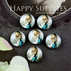 10pcs 12mm Girl Alice Handmade Photo Glass Cabochon GC12-054