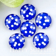 10pcs 12mm Dot Blue Handmade Photo Glass Cabochon GC12-1174