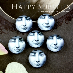 10pcs 12mm Squinting woman Handmade Photo Glass Cabochon GC12-035