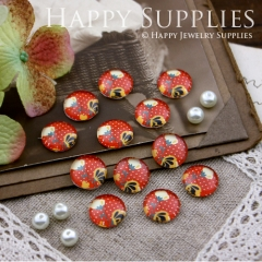 10pcs 12mm Flower Handmade Photo Glass Cabochon GC12-199