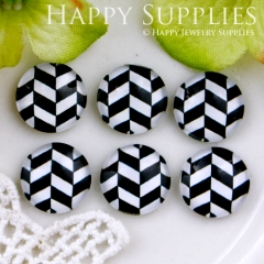 10pcs 12mm Black White Geometry Handmade Photo Glass Cabochon GC12-540