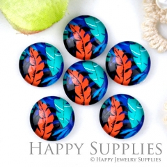 10pcs 12mm Feather Handmade Photo Glass Cabochon GC12-1240