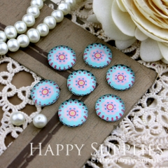 10pcs 12mm Flower Handmade Photo Glass Cabochon GC12-156