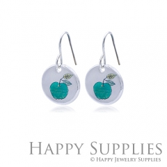 6pcs Green Apple 925 Silver Plated Brass Charm Earring Necklace SY086